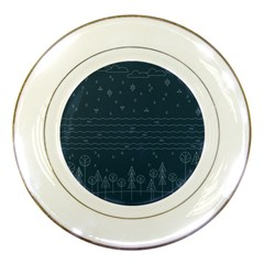 Rain Hill Tree Waves Sky Water Porcelain Plates