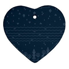Rain Hill Tree Waves Sky Water Heart Ornament (two Sides)
