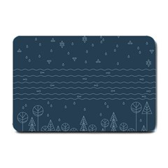 Rain Hill Tree Waves Sky Water Small Doormat