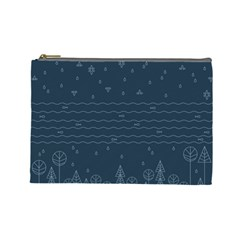 Rain Hill Tree Waves Sky Water Cosmetic Bag (large)