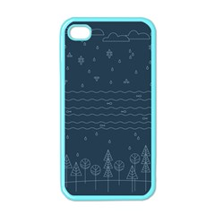 Rain Hill Tree Waves Sky Water Apple Iphone 4 Case (color)
