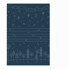 Rain Hill Tree Waves Sky Water Small Garden Flag (two Sides)