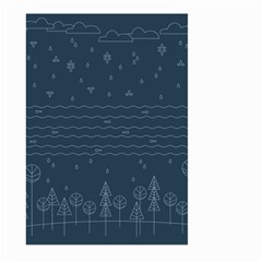 Rain Hill Tree Waves Sky Water Large Garden Flag (two Sides)