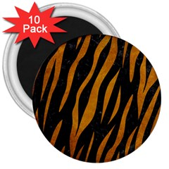 Skin3 Black Marble & Yellow Grunge (r) 3  Magnets (10 Pack)