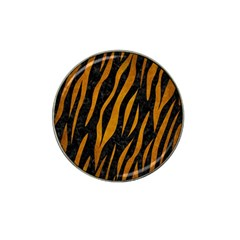 Skin3 Black Marble & Yellow Grunge (r) Hat Clip Ball Marker (4 Pack)