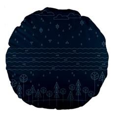 Rain Hill Tree Waves Sky Water Large 18  Premium Flano Round Cushions