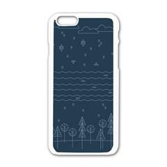 Rain Hill Tree Waves Sky Water Apple Iphone 6/6s White Enamel Case