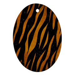 Skin3 Black Marble & Yellow Grunge (r) Oval Ornament (two Sides)