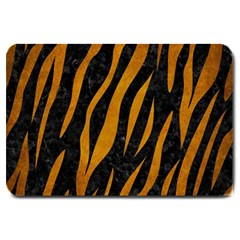Skin3 Black Marble & Yellow Grunge (r) Large Doormat