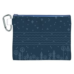 Rain Hill Tree Waves Sky Water Canvas Cosmetic Bag (xxl)