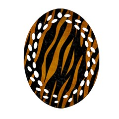 Skin3 Black Marble & Yellow Grunge (r) Oval Filigree Ornament (two Sides)