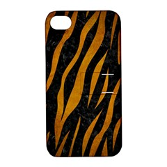 Skin3 Black Marble & Yellow Grunge (r) Apple Iphone 4/4s Hardshell Case With Stand