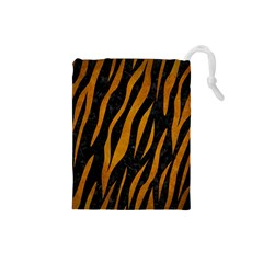 Skin3 Black Marble & Yellow Grunge (r) Drawstring Pouches (small)