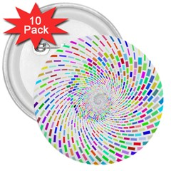 Prismatic Abstract Rainbow 3  Buttons (10 Pack)