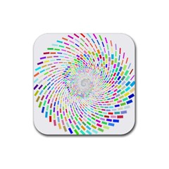 Prismatic Abstract Rainbow Rubber Coaster (square)