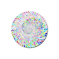 Prismatic Abstract Rainbow Rubber Coaster (round)
