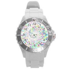 Prismatic Abstract Rainbow Round Plastic Sport Watch (l)