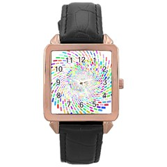 Prismatic Abstract Rainbow Rose Gold Leather Watch