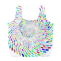 Prismatic Abstract Rainbow Full Print Recycle Bags (l)