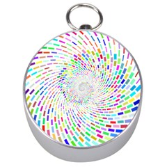 Prismatic Abstract Rainbow Silver Compasses