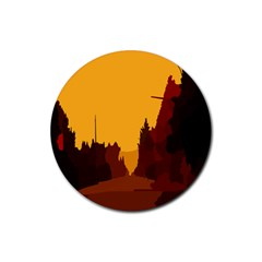 Road Trees Stop Light Richmond Ace Rubber Round Coaster (4 Pack)