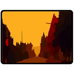 Road Trees Stop Light Richmond Ace Fleece Blanket (large)