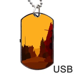 Road Trees Stop Light Richmond Ace Dog Tag Usb Flash (one Side)