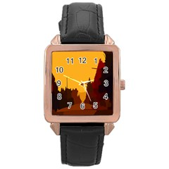 Road Trees Stop Light Richmond Ace Rose Gold Leather Watch