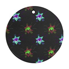 Random Doodle Pattern Star Round Ornament (two Sides)