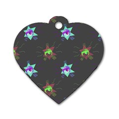 Random Doodle Pattern Star Dog Tag Heart (two Sides)