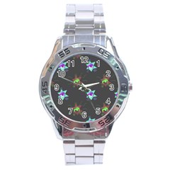 Random Doodle Pattern Star Stainless Steel Analogue Watch