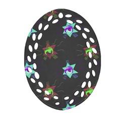 Random Doodle Pattern Star Ornament (oval Filigree)