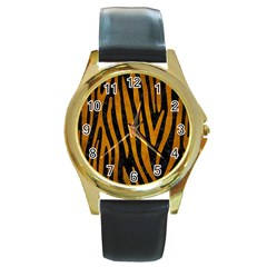 Skin4 Black Marble & Yellow Grunge Round Gold Metal Watch