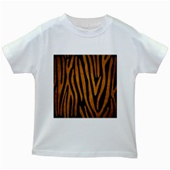 Skin4 Black Marble & Yellow Grunge Kids White T Shirts