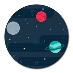 Space Pelanet Galaxy Comet Star Sky Blue Round Mousepads