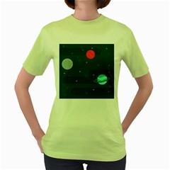 Space Pelanet Galaxy Comet Star Sky Blue Women s Green T Shirt