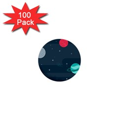Space Pelanet Galaxy Comet Star Sky Blue 1  Mini Buttons (100 Pack)