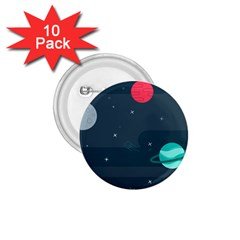 Space Pelanet Galaxy Comet Star Sky Blue 1 75  Buttons (10 Pack)
