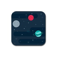 Space Pelanet Galaxy Comet Star Sky Blue Rubber Coaster (square)