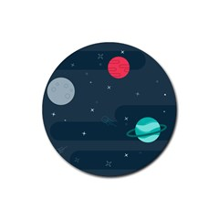 Space Pelanet Galaxy Comet Star Sky Blue Rubber Round Coaster (4 Pack)
