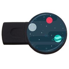 Space Pelanet Galaxy Comet Star Sky Blue Usb Flash Drive Round (2 Gb)