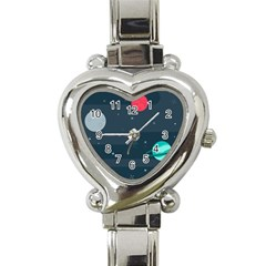 Space Pelanet Galaxy Comet Star Sky Blue Heart Italian Charm Watch