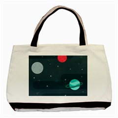 Space Pelanet Galaxy Comet Star Sky Blue Basic Tote Bag (two Sides)