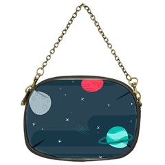 Space Pelanet Galaxy Comet Star Sky Blue Chain Purses (two Sides)