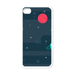 Space Pelanet Galaxy Comet Star Sky Blue Apple Iphone 4 Case (white)