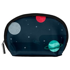 Space Pelanet Galaxy Comet Star Sky Blue Accessory Pouches (large)
