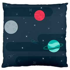 Space Pelanet Galaxy Comet Star Sky Blue Large Flano Cushion Case (two Sides)