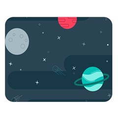 Space Pelanet Galaxy Comet Star Sky Blue Double Sided Flano Blanket (large)