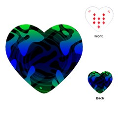 Spectrum Sputnik Space Blue Green Playing Cards (heart)
