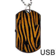 Skin4 Black Marble & Yellow Grunge Dog Tag Usb Flash (two Sides)